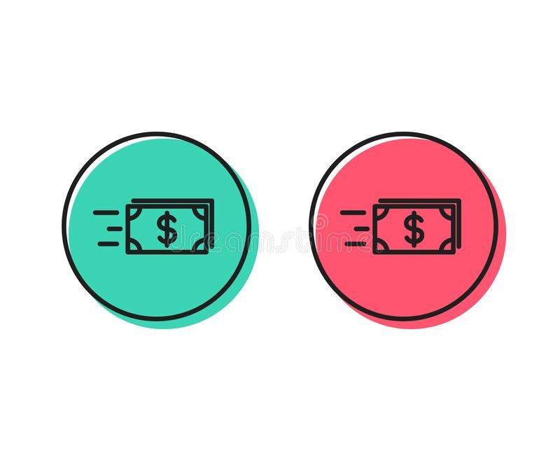 Transfer Cash money line icon. Banking. Vector royalty free illustration