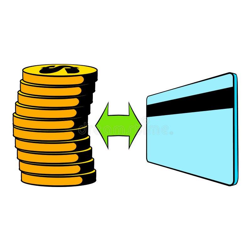 Transfer of cash to card icon cartoon vector illustration