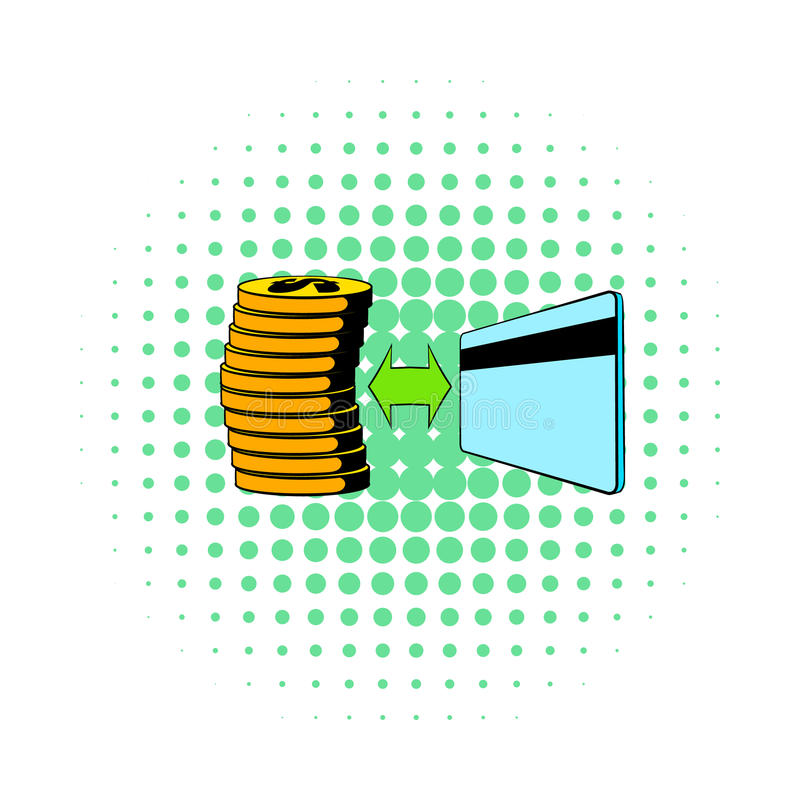 Transfer of cash to card icon, comics style royalty free illustration