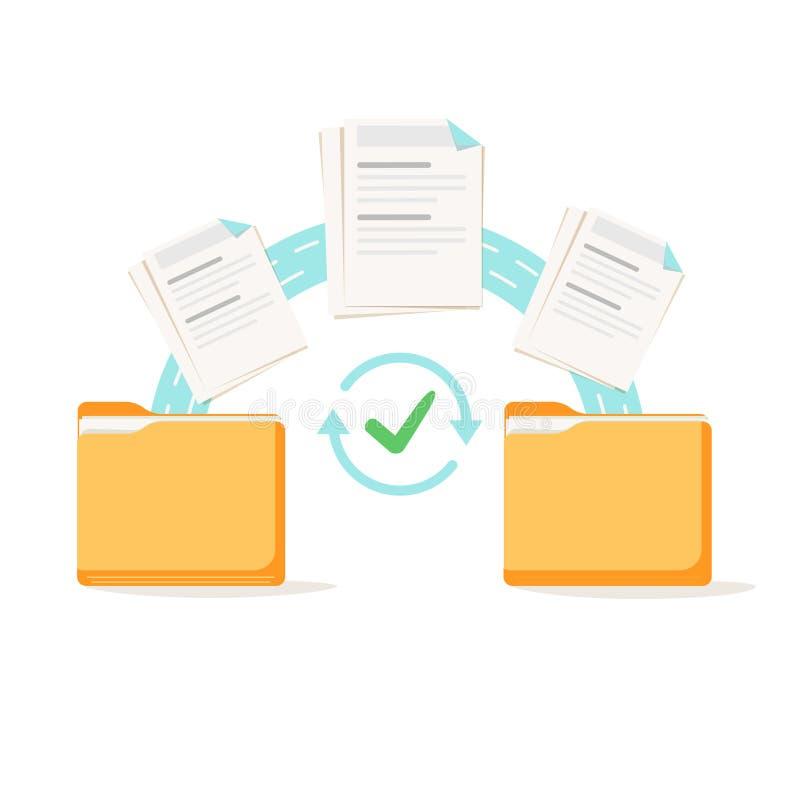 Transfer danych, kopiowanie, uploading proces udostępnianie plików lub wysyłać inny dokumenty od jeden kartoteki falcówki, ilustracja wektor
