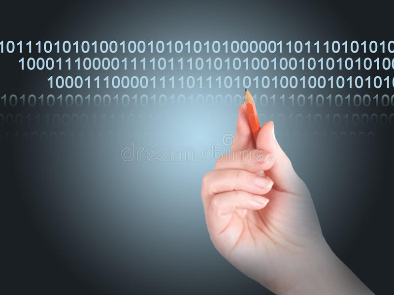 Transfer of the data. The man writes by a pencil an electronic code stock images