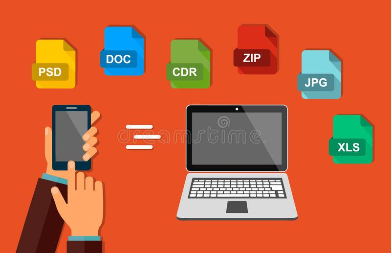 Transfer of data. File format. The hand with the phone. Send documents from your smartphone to the laptop. Vector. Transfer of data. File format. The hand with vector illustration
