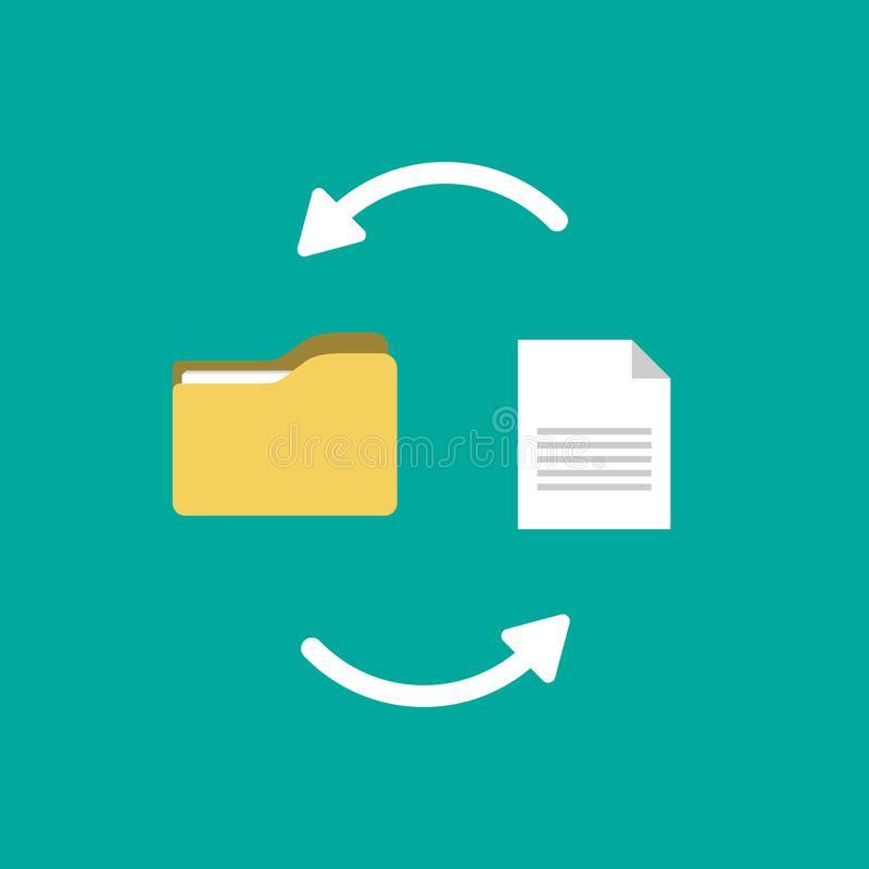 Transfer of documentation. Folders with paper files vector illustration
