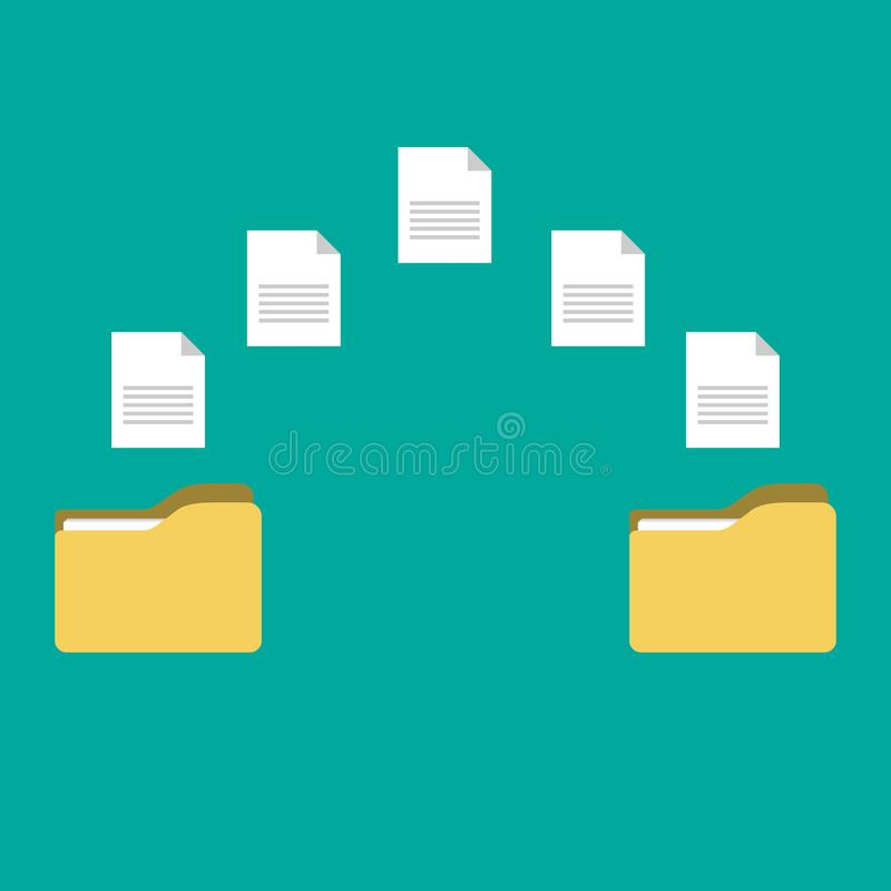 Transfer of documentation. Folders with paper files royalty free illustration