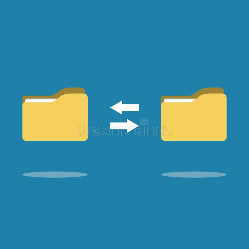 Transfer of documentation. Folders with paper files stock illustration