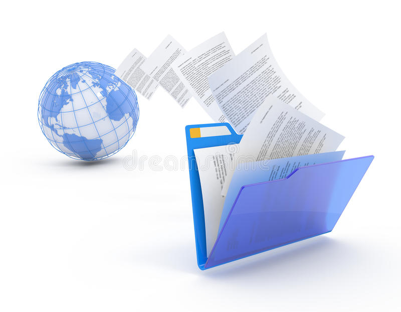 Transfer of documents. Forwarding files conceptual 3d illustration