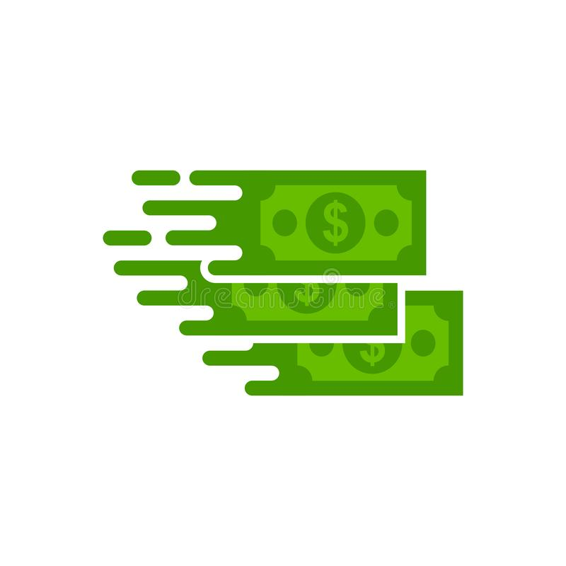Transfer dollar icon, flat style design, quick money icon vector. Flat style design, fast money dollar vector icon isolated white background stock illustration