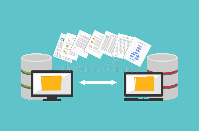 Transfer files. Sharing files. Backup files. Migration concept vector illustration