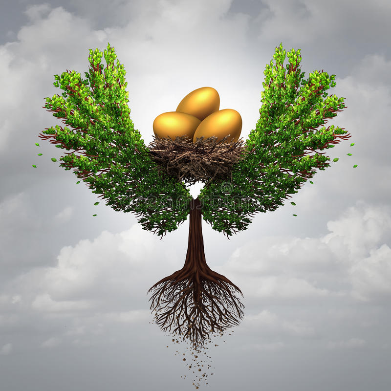 Transfer Funds. Financial concept and international money transfer symbol as a tree shaped as a bird with wings transporting a nest egg with gold eggs with 3D stock illustration