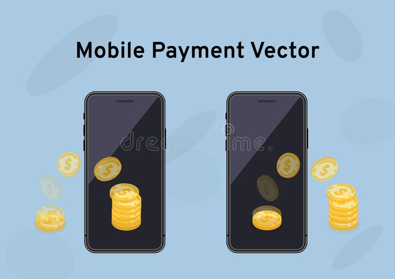 The transfer of gold coins on the mock u screen, money transfer or financial transactions via mobile apps, smart phone with intern stock illustration