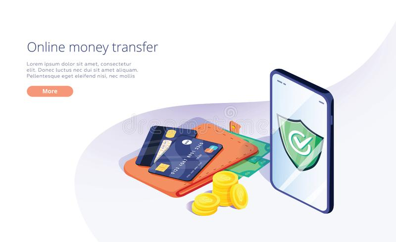 Transfer?ncia de dinheiro em linha da carteira ao smartphone na ilustra??o isom?trica do vetor Fluxo principal, sal?rio ou dinhei ilustração do vetor