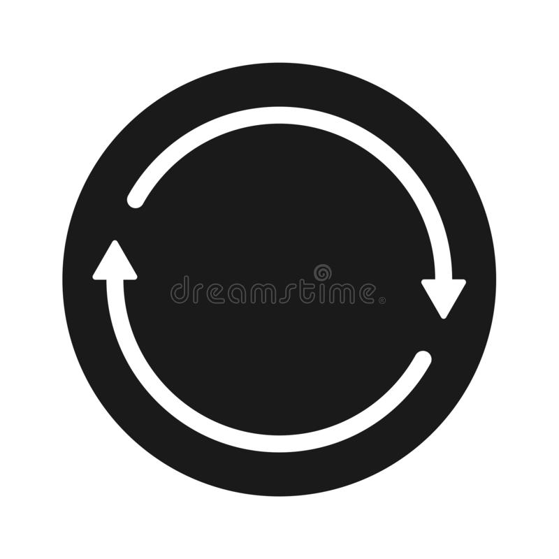 Transfer solid black arrow round icon. Simple vector filled flat transfer icon arrow round solid black pictogram isolated on white background stock illustration