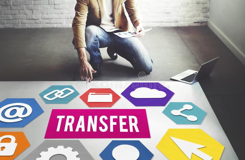 Transfer Transmission Word Graphic Concept stock image