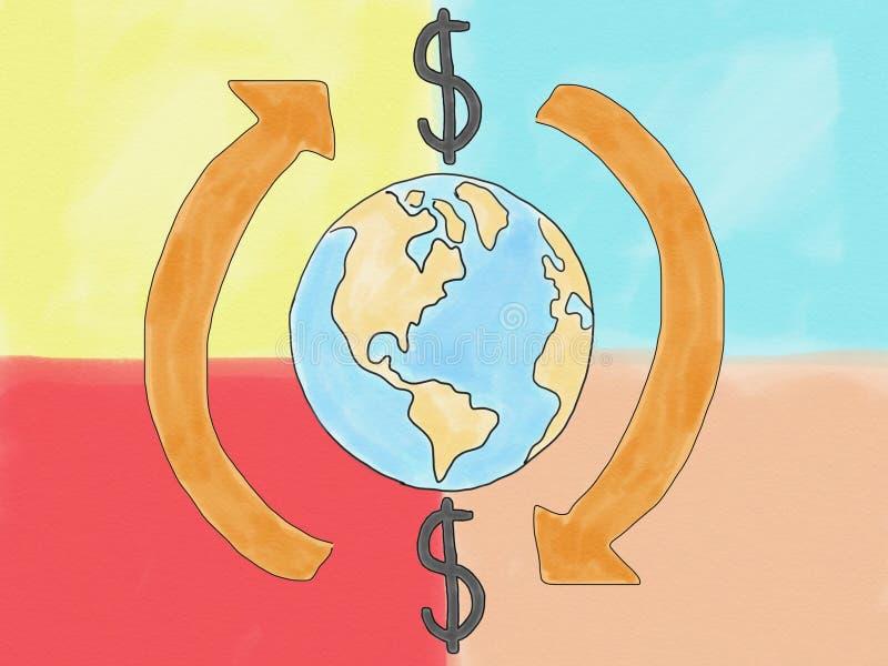 Transferencia abstracta de la muestra de dólar del garabato del drenaje de la mano alrededor del concepto del mundo en el fondo d ilustración del vector