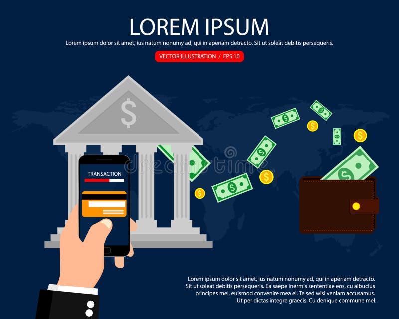 Transferencia bancaria del banco Pago móvil, actividades bancarias de Internet, negocio Ilustración del vector Diseño plano stock de ilustración