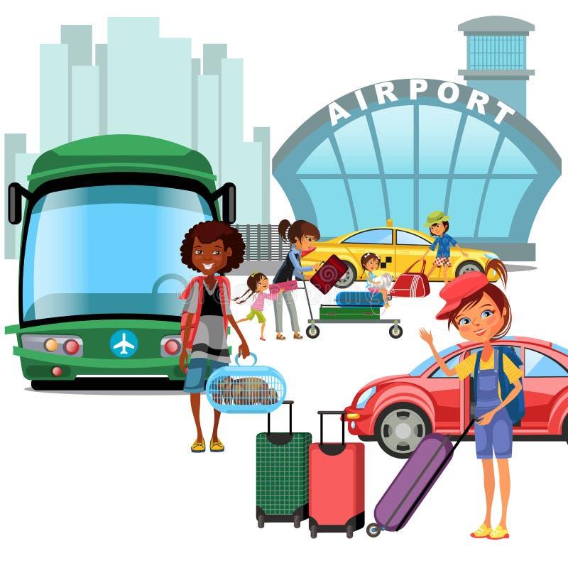 Transferencia de aeropuerto, transporte público como el coche y autobús, madre feliz de la familia con el kepp de los niños su eq ilustración del vector
