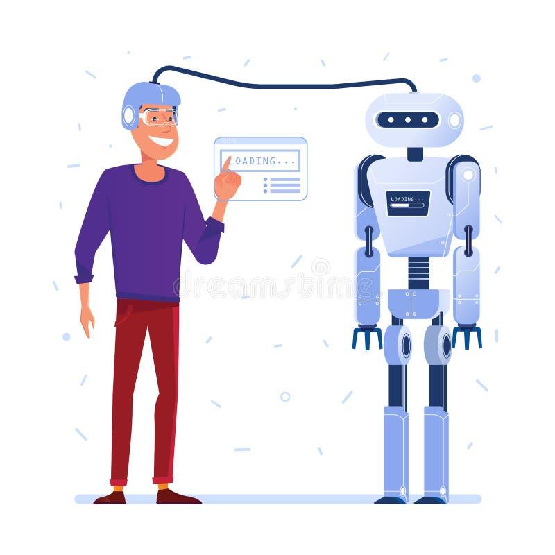 Transferencia de datos del cerebro humano al robot ilustración del vector