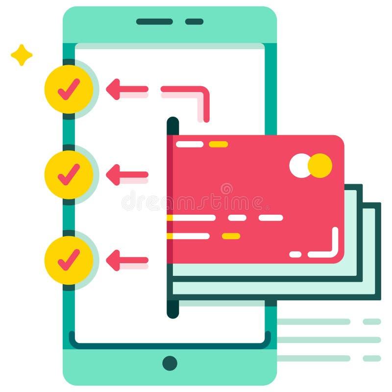transferencia de la E-cartera al ejemplo plano de las cuentas múltiples libre illustration