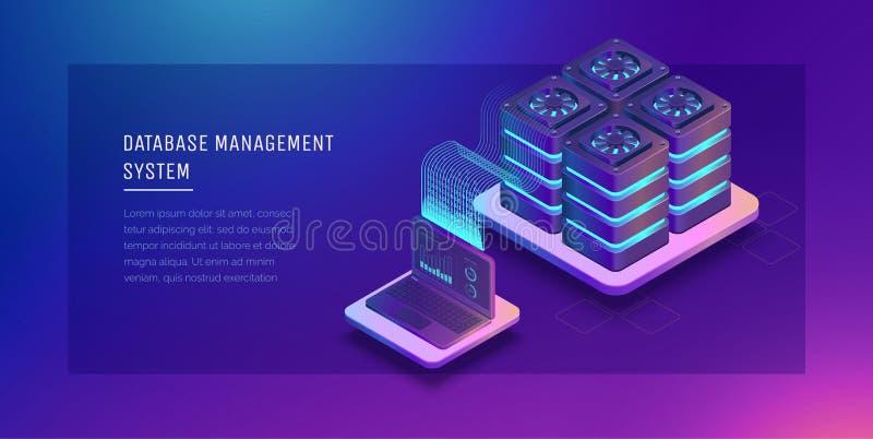 Transferencia de los datos de usuario al servidor Flujo de datos Almacenamiento de datos servidor Espacio de Digitaces Centro de  ilustración del vector