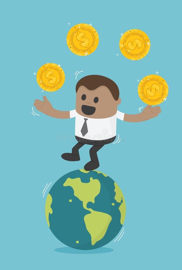 Transferencia de negocio africana de Concept del hombre de negocios de monedas successf ilustración del vector