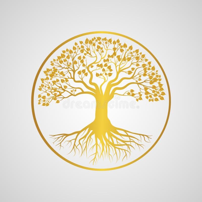 Transferencia directa de oro de la imagen del png del logotipo del árbol de Bodhi ilustración del vector
