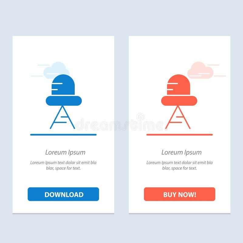 Transferencia directa del diodo, llevado, azul claro y rojo y ahora comprar la plantilla de la tarjeta del aparato de la web stock de ilustración