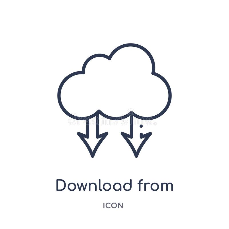 transferencia directa del icono de la nube del icono de la nube de la colección del esquema de la interfaz de usuario Línea fina  libre illustration