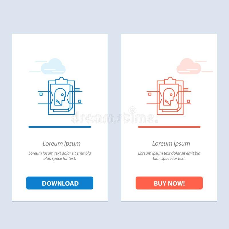 Transferencia directa del informe, de la tarjeta, del fichero, de la identificación del usuario, azul y roja y ahora comprar la p libre illustration