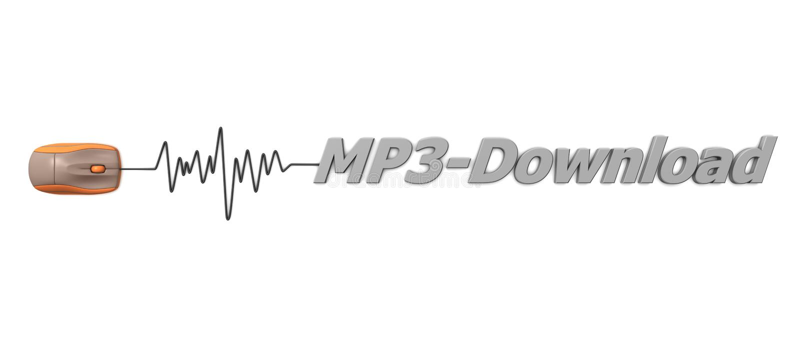 Transferencia directa del MP3 de la palabra con el ratón anaranjado stock de ilustración