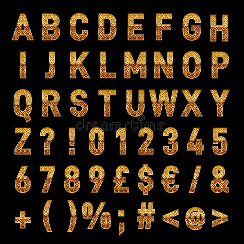Transferencia directa elegante de las letras y de los números del alfabeto del vector del oro ilustración del vector