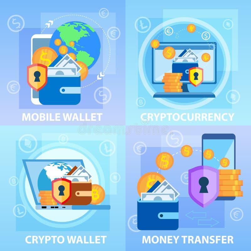 Transferencia monetaria Crypto móvil de Cryptocurrency de la cartera ilustración del vector