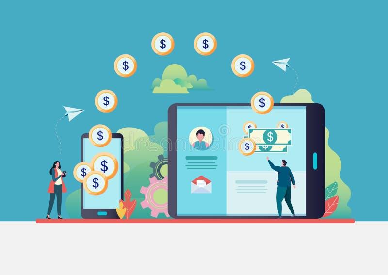 Transferencia monetaria en línea La gente envía el dinero vía smartphone Actividades bancarias del Internet Pago mundial Ejemplo  stock de ilustración
