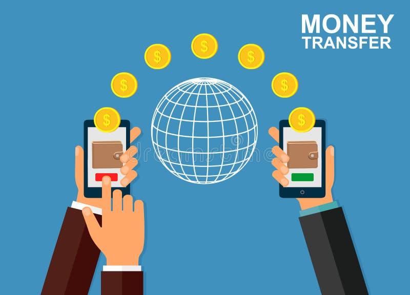 Transferencia monetaria usando el dispositivo móvil, teléfono elegante con el pago app de las actividades bancarias Actividades b ilustración del vector