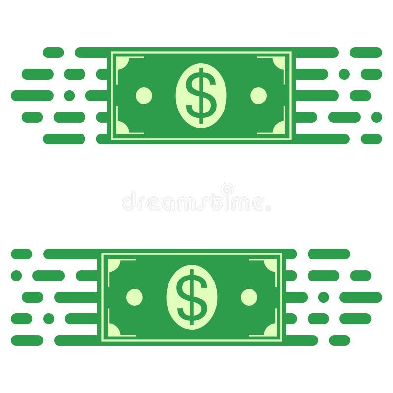 Transferencia rápida del dinero, un billete de dólar del logotipo en de movimiento rápido concepto del vector de transferencia rá libre illustration