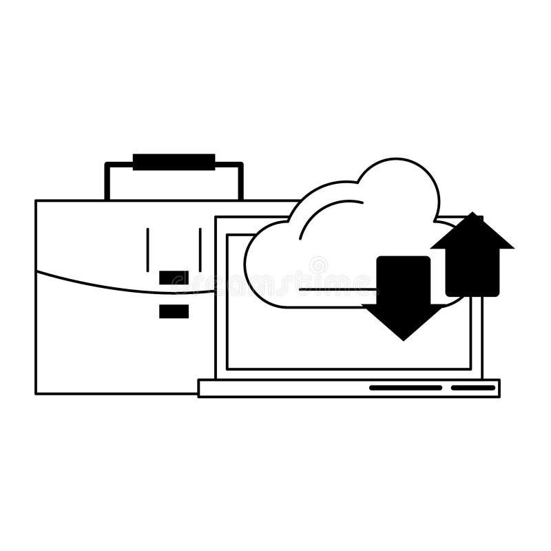 Transferencia y cartera de la nube del ordenador en blanco y negro ilustración del vector