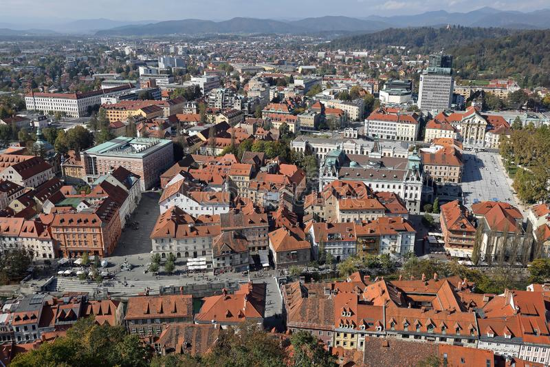 Transferrina aerea Slovenia fotografia stock libera da diritti