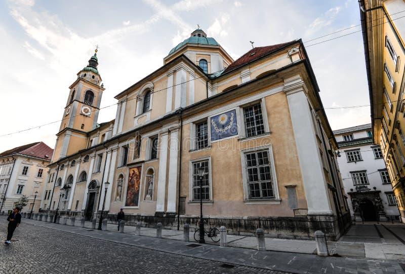 Transferrina, Slovenia - 20 maggio 2018: La chiesa del ` s della cattedrale o di San Nicola di Transferrina sta a Cyril ed al qua fotografie stock libere da diritti