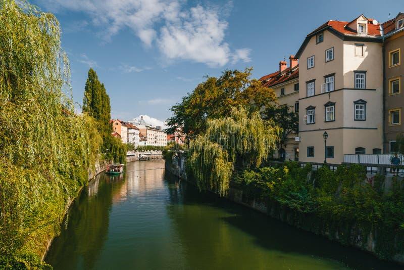 Transferrina, Slovenia - settembre, 8 del 2018: Una bella vista al fiume Ljubljanica, il centro turistico di Transferrina, la cap fotografie stock