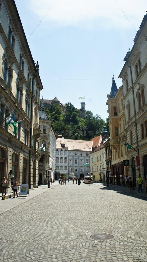 Transferrina, Slovenia - 07/19/2015 - vista della via nel vecchio castello sulla montagna, mattina soleggiata di Transferrina e d fotografie stock libere da diritti