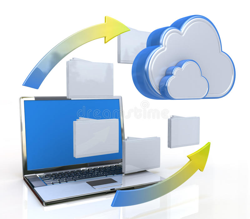 Transferring data to a cloud royalty free illustration