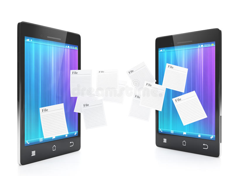 Download Transferring Files Between Phones Stock Illustration - Image: 28406945