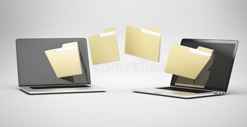 Transferring between two laptops vector illustration