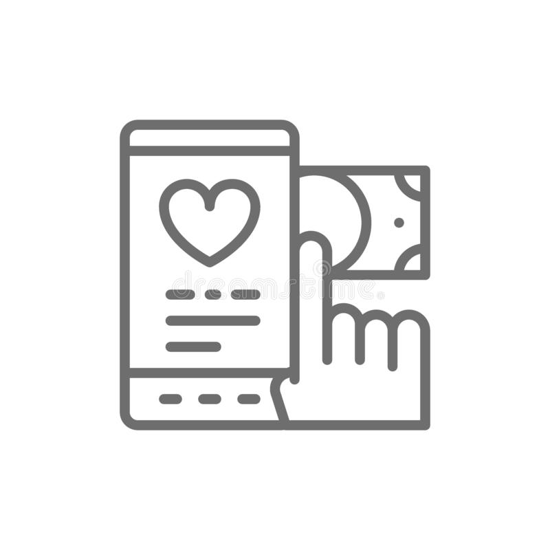 Transfert d'argent à la charité, donation, offrant la ligne icône illustration libre de droits