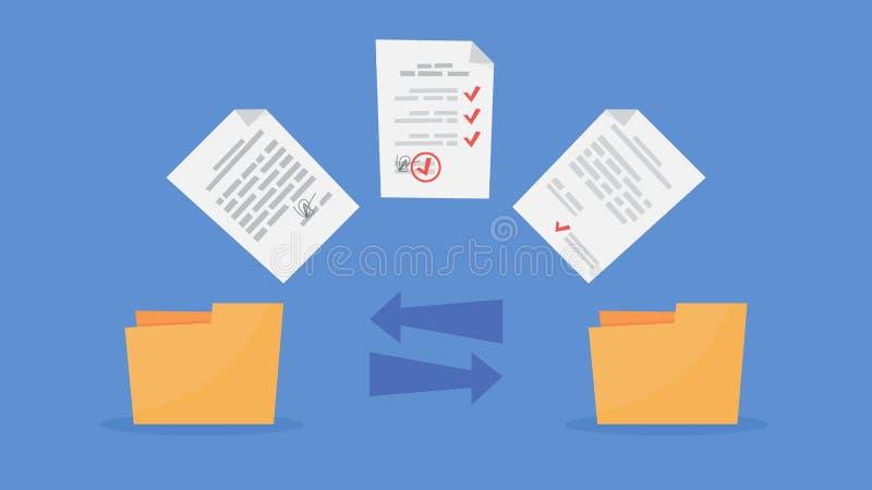 Transfert de fichier entre les dossiers Dossiers de copie, données d'échange illustration de vecteur