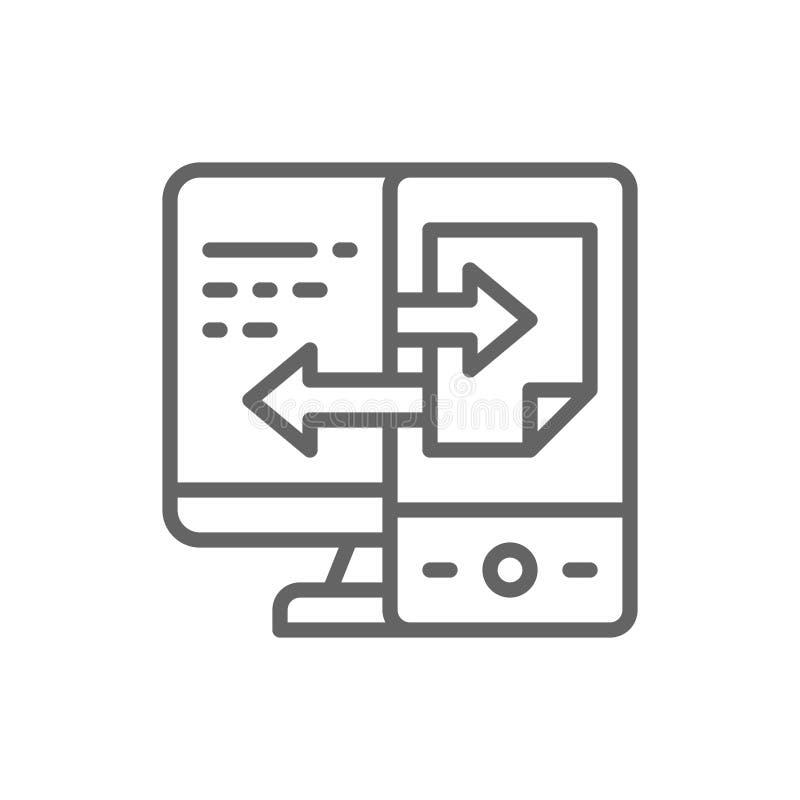 Transfert des donn?es de dispositif, ligne ic?ne de synchronisation de dossier illustration stock