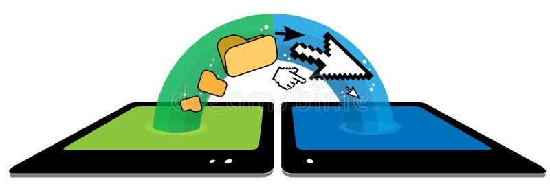 Transfert des données sans fil de tablette avec arc-en-ciel-comme l'illustration photos libres de droits