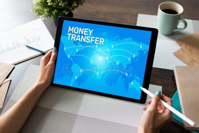 Transfert et e-paiements d'argent globaux Internet et concept financier de technologie photographie stock