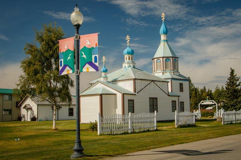 Transfiguração santamente de nosso Lord Chapel na cidade de Kenai em Alaska fotografia de stock royalty free