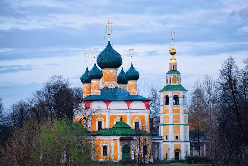 Transfiguracja kościół w Uglich Yaroslavl regionie w Rosja zdjęcia royalty free