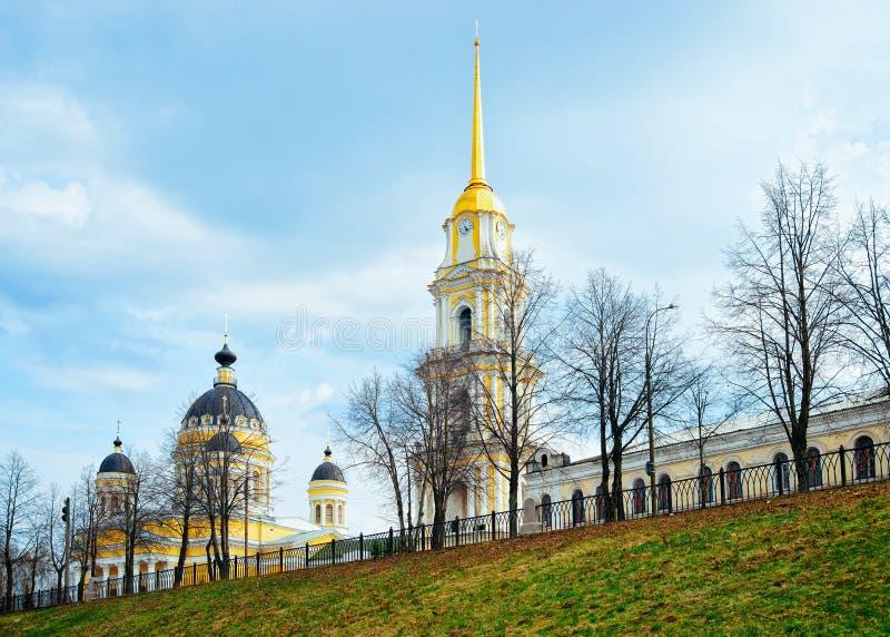 Transfiguratiekathedraal Rybinsk in Yaroslavl-Gebied in Rusland stock foto's
